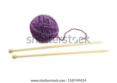 skein and knitting needles isolated on white background - stock photo