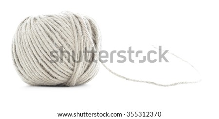 Skein of braided rope, hemp roll, isolated on white background - stock photo