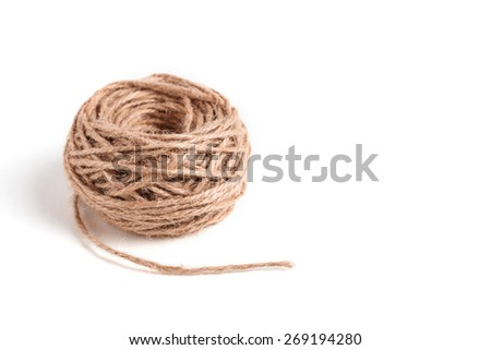 Skein of jute twine on the white background. Isolated - stock photo