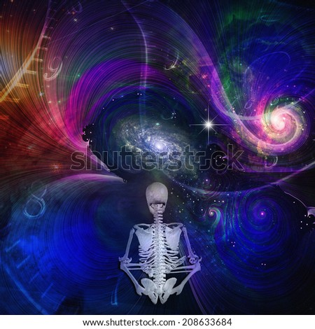 Skeletal figure meditates in cosmos Elements of this image furnished by NASA - stock photo