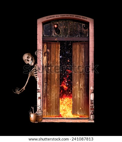 Skeleton beckons all to enter the gate to Hell.