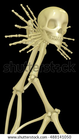 Skeleton bone construct abstract, 3d illustration, vertical, isolated