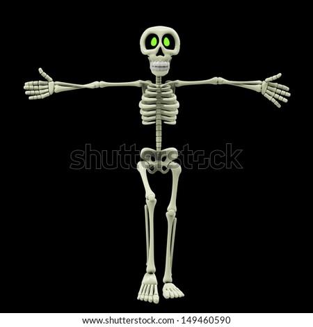 skeleton cartoon wants a hug - stock photo