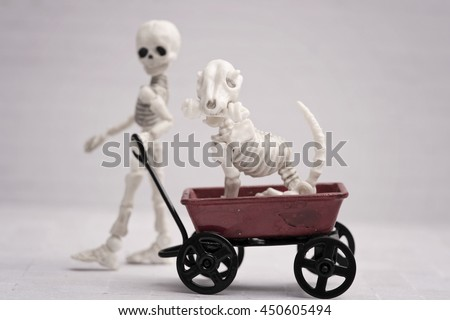 Skeleton child pulling dog in toy wagon - stock photo