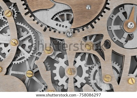 Skeleton clockwork mechanism close up background