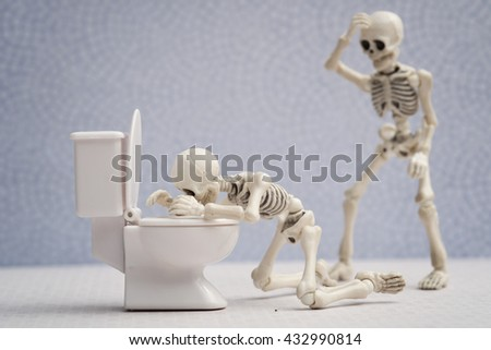 Skeleton got sick in bathroom