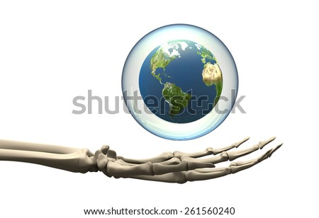 skeleton Hand holding globe in bubble including elements furnished by NASA.