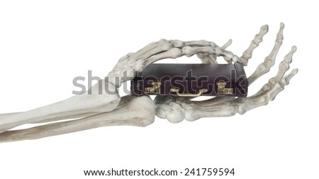Skeleton hands holding a briefcase - path included - stock photo