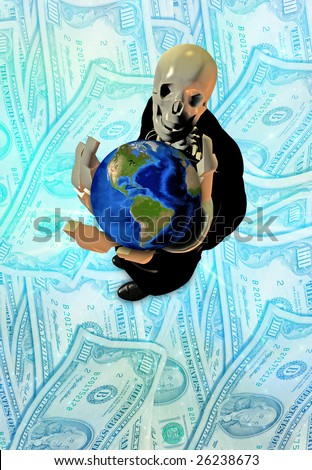 Skeleton holds earth
