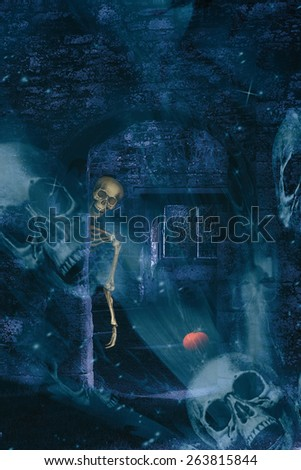 Skeleton in abbey ruins at Halloween with skulls double exposure