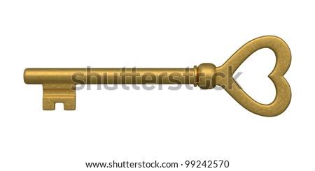 Skeleton key. isolated on white. - stock photo