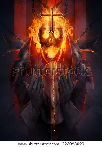 Skeleton knight. Skeleton fire head knight praying the cross illustration. - stock photo