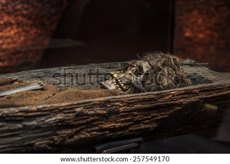 Skeleton of a bronze age man in a burial mound. - stock photo