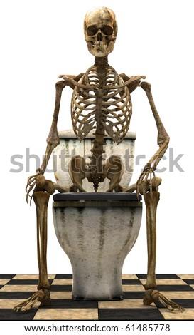 Skeleton toilet - stock photo