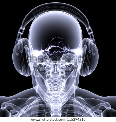 Skeleton X-ray DJ: An X-ray of a male skeleton DJ wearing headphones with electric activity in his head. Isolated on a black background - stock photo