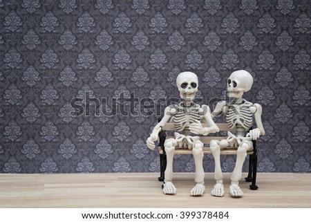 skeletons talk - stock photo