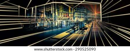 sketch and photo combination of rail  Station - stock photo