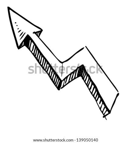 Sketch arrow icon - stock photo