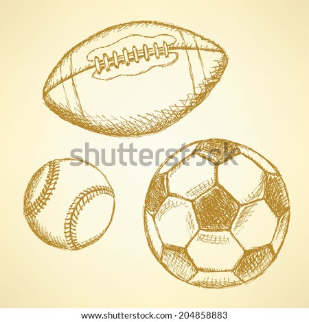 Sketch baseball, american football and soccer balls