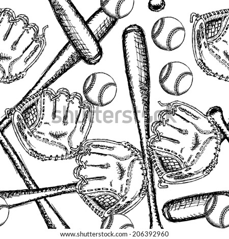 Sketch baseball ball, bat and glove, vintage seamless pattern