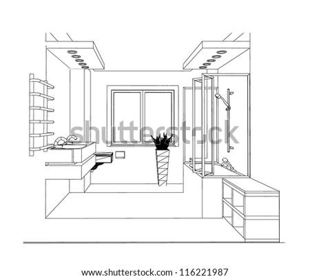 sketch bathroom interior