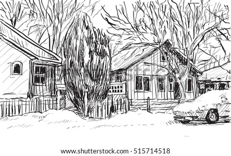 sketch cityscape of Quebec, Canada show snow and houses view, free hand draw illustration