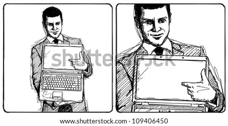 Sketch, comics style businessman with open laptop in his hands, smiles at camera