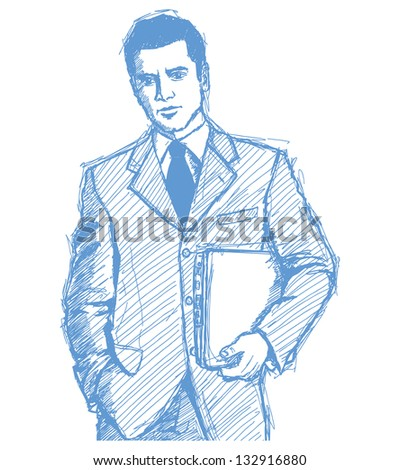 Sketch, comics style man businessman in suit with laptop in his hands, looking on camera - stock photo