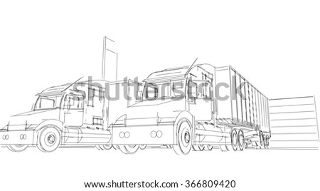 sketch Delivery Truck lorry