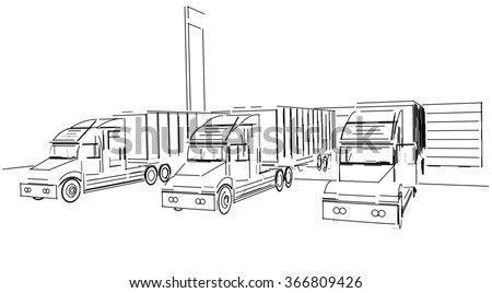 Sketch Delivery Truck Lorry Stock Illustration 366809426 - Shutterstock