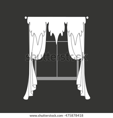 sketch design curtains windows.