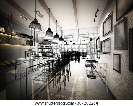 sketch design of coffee shop ,3d wire frame render  - stock photo