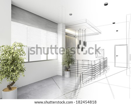 sketch design of interior hall - stock photo