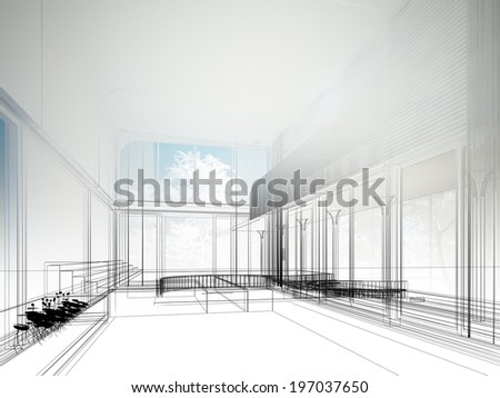 sketch design of interior hall, wire frame  - stock photo