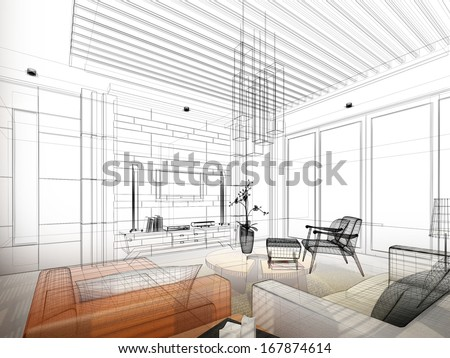 sketch design of living ,3dwire frame render - stock photo