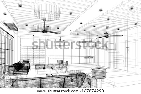 sketch design of lobby ,3dwire frame render - stock photo
