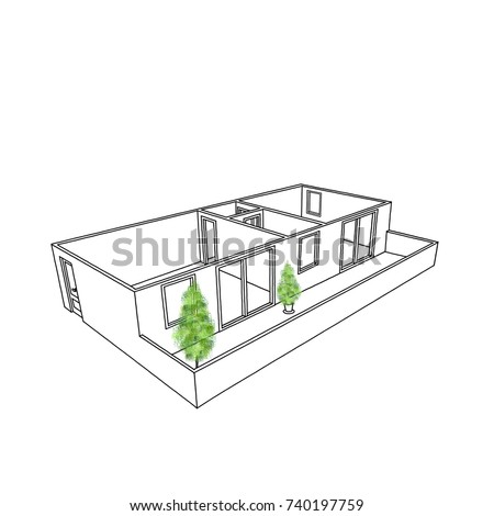 Sketch Drawing Of Empty Home Apartment With Balcony And Trees