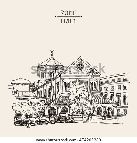sketch drawing of Rome cityscape, Italy old historical building, raster version illustration