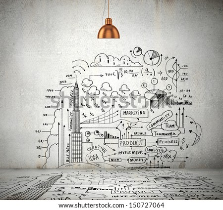 sketch drawing ideas on wall collage stock photo 151605878