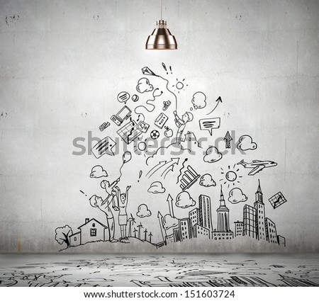 Drawn Business Plan On Wall Illuminated Stock Photo