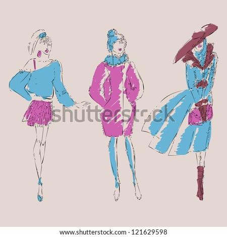 Sketch fashion girls  (vector version in portfolio) - stock photo