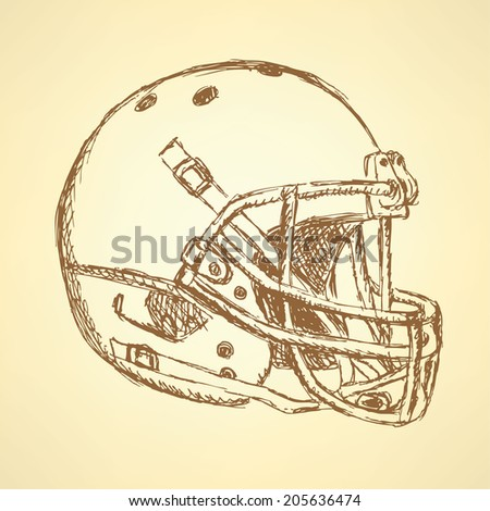 Sketch football helmet, vintage background  - stock photo