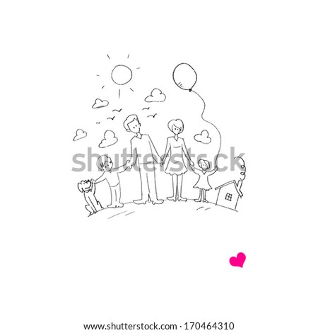 Sketch funny image of happy parents and children