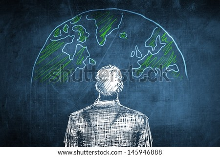 Sketch global businessman concept with earth globe - stock photo