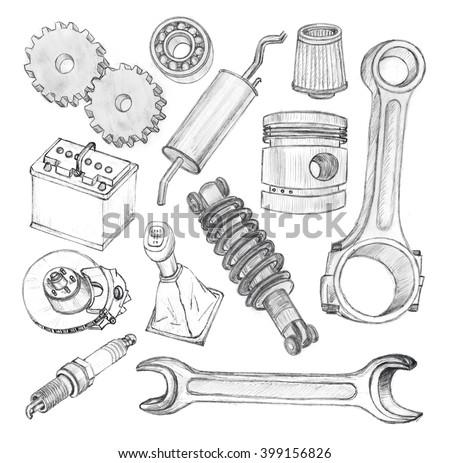 Sketch Hand Drawn Doodles Car Tools Stock Illustration 399156826 ...