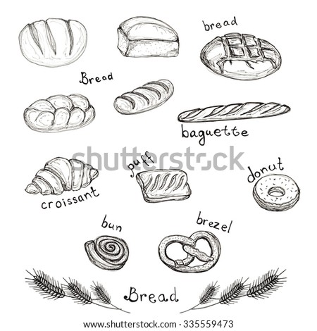 Sketch hand drawn set of bakery products - bread, baguette, croissant, puff, donut, bun, brezel isolated on white Design element for for textiles, advertising, brochures, menu