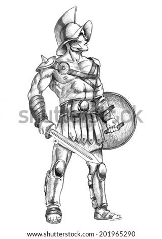 Sketch illustration of a gladiator - stock photo