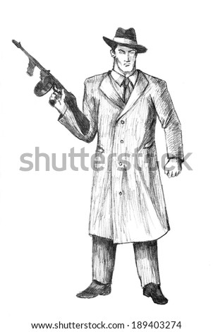 Sketch illustration of a man holding a gun - stock photo