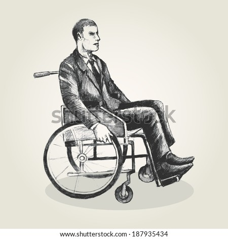 Sketch illustration of a person on wheelchair - stock photo