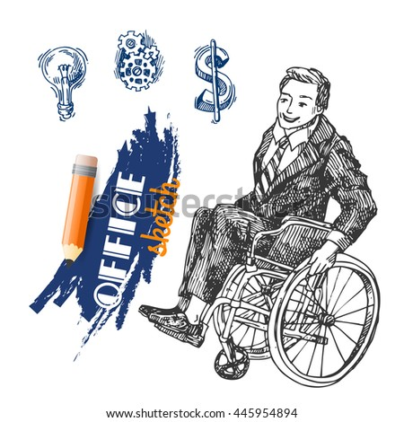 Sketch illustration of a person on wheelchair  in a business suit.  Raster copy. - stock photo